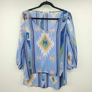 Wishful Park Sheer Aztec Print Long Sleeve Blouse